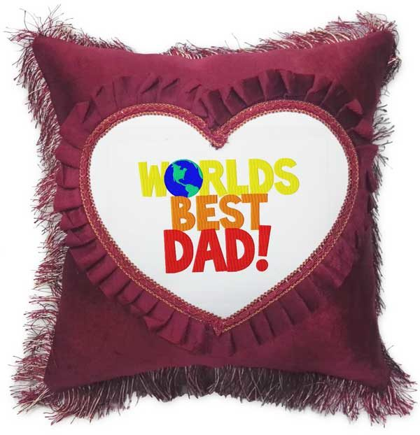 Worlds Best Dad Fancy Red Heart Gift Cushion