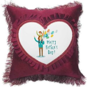 Happy Father's Day Fancy Red Heart Gift Cushion