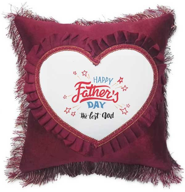 The Best Dad - Father's Day Fancy Red Heart Gift Cushion