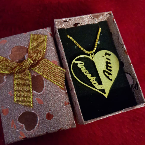 Personalized Gold/Silver plated name inside heart necklace