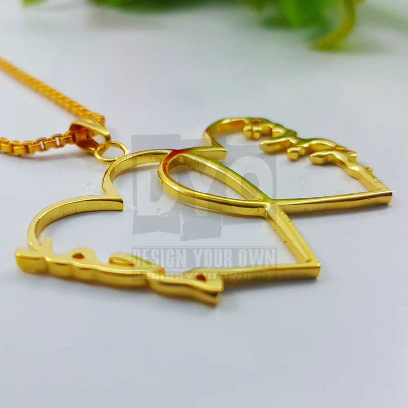 Personalized Name Necklace Double Heart Design