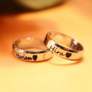 Personalized Photo Engraved Ring With Name (Stainless Steel)