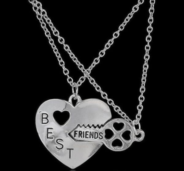 Best Friend Key Heart Necklace
