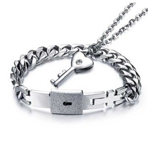 Couple Lock Bracelet and Key Necklace