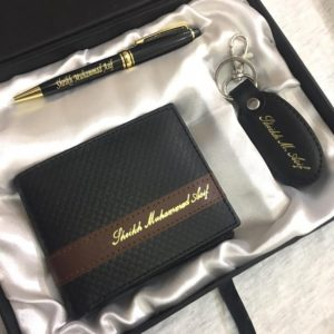 Customized Name Wallet + Pen + Keychain Gift Box