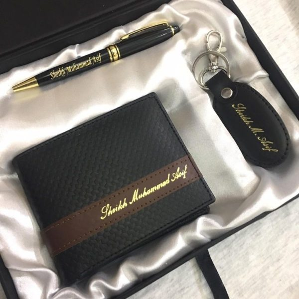 Customized Picture And Name Wallet+Keychain+Pen