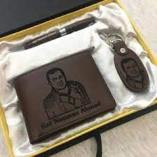 Personalized Gift Box Includes Wallet, Pen, Key chain with Custom Picture & Name Engraved