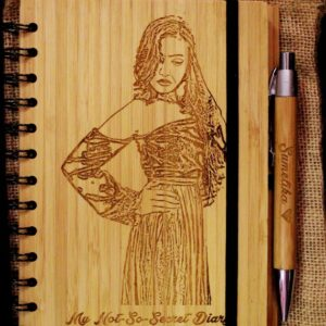 Customized Engraved Wooden Picture Or Name Dairy And Pen