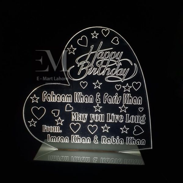 Romantic personalized Heart Design Happy Birthday Gift Lamp