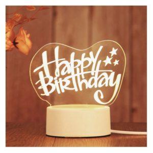 Romantic personalized Heart Shape Happy Birthday Gift Lamp