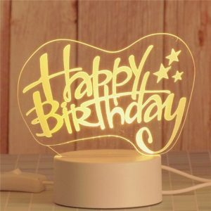 Romantic personalized Heart Shape Happy Birthday Gift Lamp