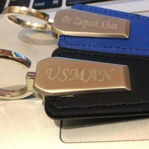 Metallic Leather Customized keychain
