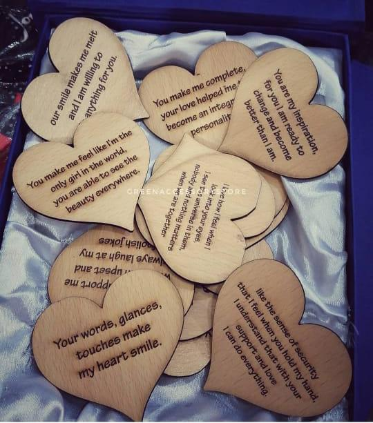 Customized Text Engraved Heart Design Wooden Gift Item
