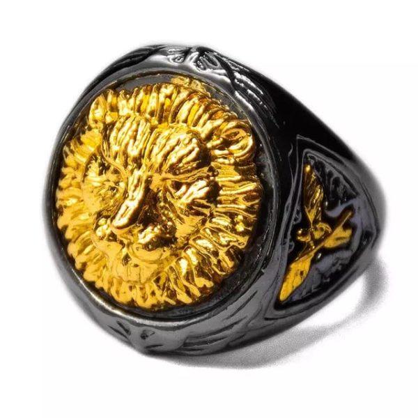 Gold Lion Head Gold, Ring Men's Judah Punk Style Hop Ring