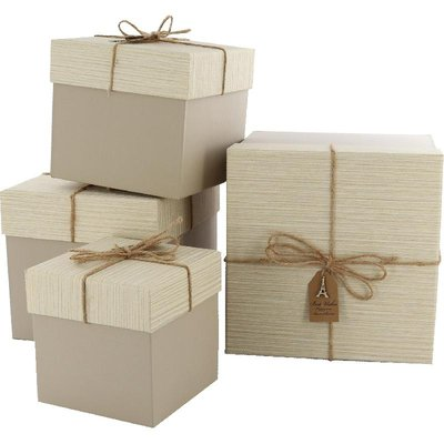 Design Your Own Four Gift Boxes Large, Small, Smaller, Smallest With Customized Acceralic Card