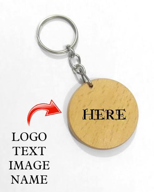 Design Your own Customized Picture Name Or Logo Engraved Wooden Keychain Round Shape
