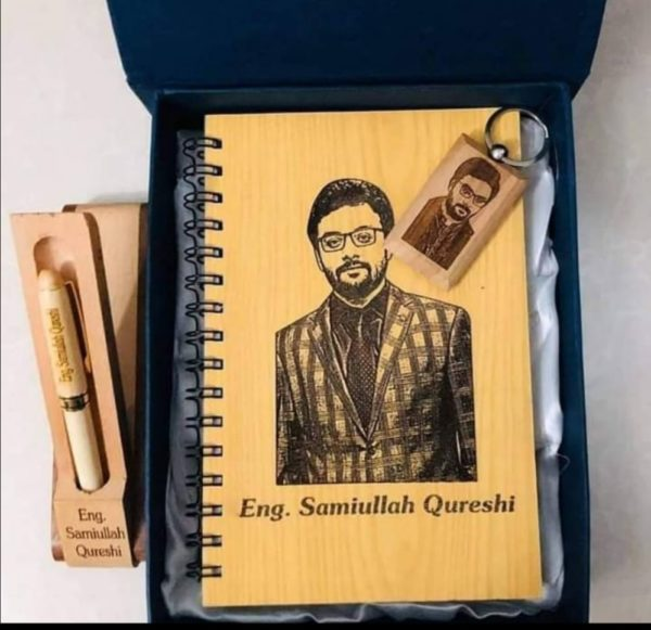 Design Your Own Customized Picture And Name Wooden Dairy, Wooden Keychain And Wooden Pen Gift Box