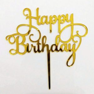 Design Your Own Customized Cake Topper In Acceralic Material With Golden Foil