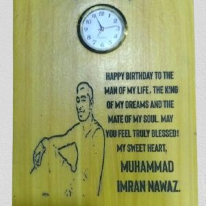 Customized Picture And Name Engraved Wooden Clock Table Frame (5x4)