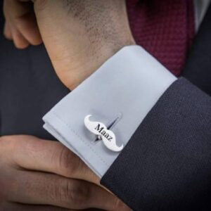 Design Your Own Mustache Name Engraved Cufflinks