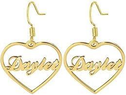 Personalized Name Earrings Heart Shape