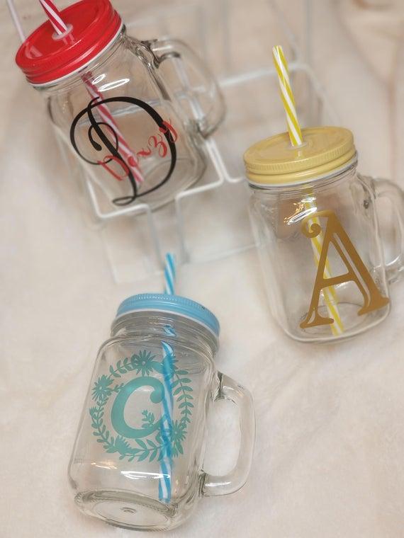 Design your own Customized Mason jar glass tumbler with straw