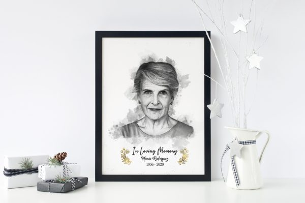 Custom Passed Away Portrait Gift, Deceased Loved One Portrait gift, Black and White Sympathy Portrait Memorial