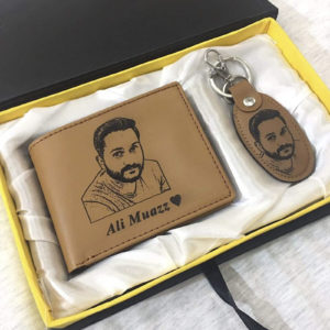 Design Your Own Custom Picture And Name Wallet And Keychain With Gift Box - In Camel Color