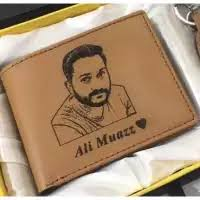 Design Your Own Custom Picture And Name Wallet With Gift Box - In Camel Color