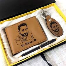 Design Your Own Custom Picture And Name Wallet Keychain And Pen With Gift Box - In Camel Color