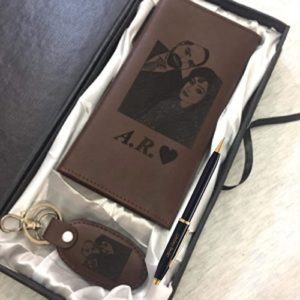 Design Your Own Picture And Name Long Wallet With Keychain And Pen - In Brown